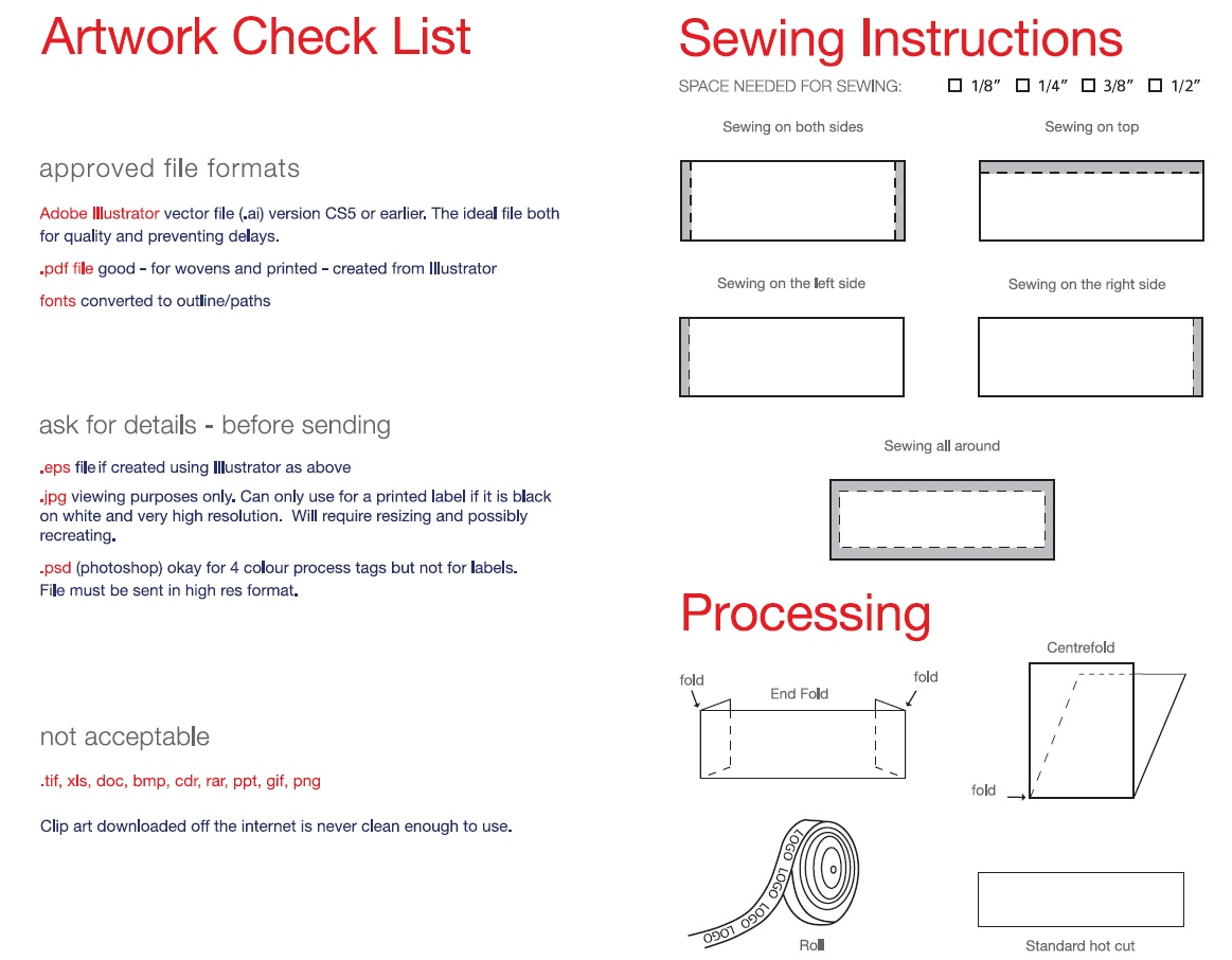 Sewing / Cutting / Art Specs | Laven Labels